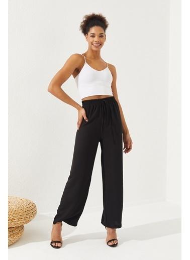 Reyon REYON Kadın Beli Lastikli Salaş Pantolon Siyah Siyah